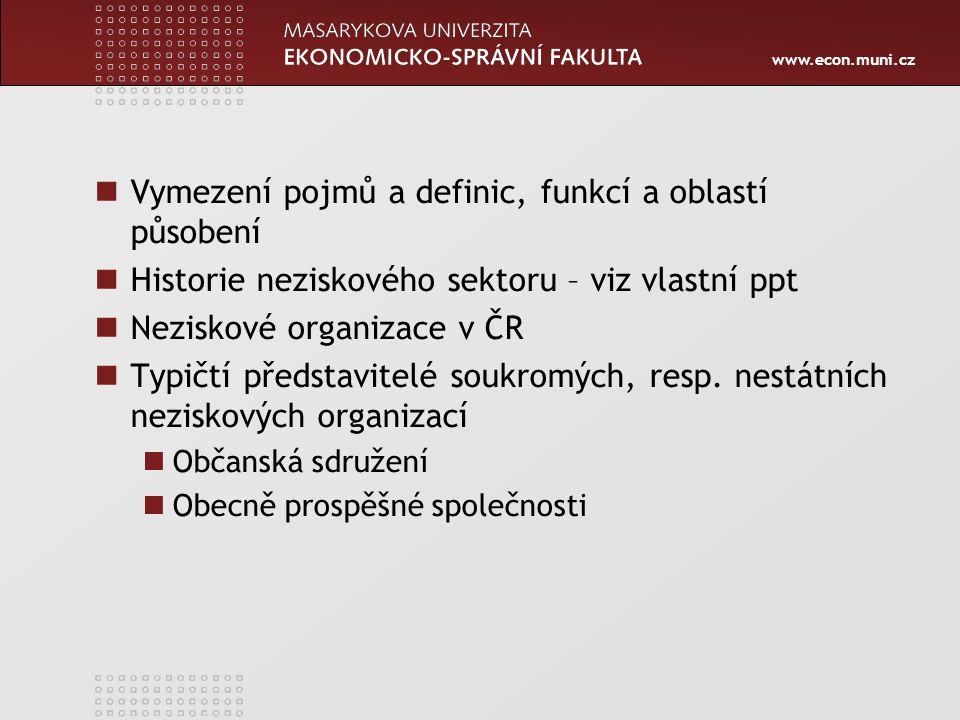 Vymezení pojmů a definic, funkcí a oblastí působení