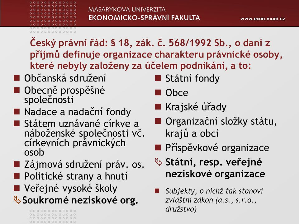 Organizační složky státu, krajů a obcí Příspěvkové organizace
