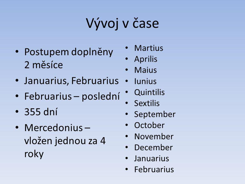 Vývoj v čase Postupem doplněny 2 měsíce Januarius, Februarius