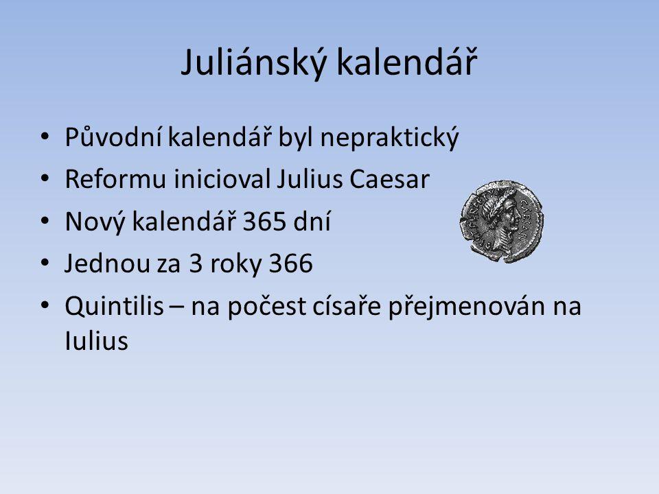 Juliánský kalendář Původní kalendář byl nepraktický