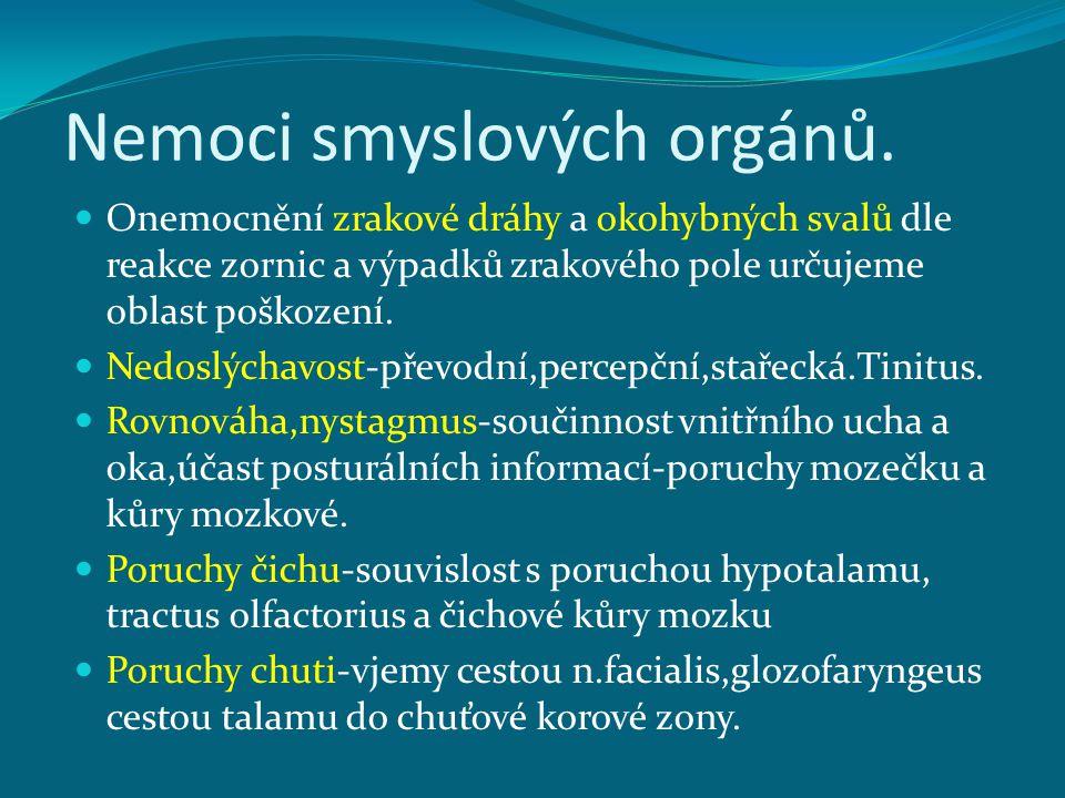 Nemoci smyslových orgánů.