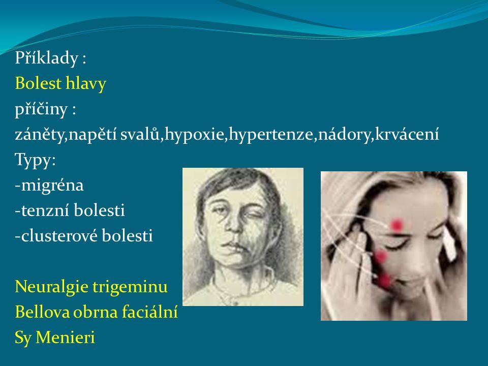 Příklady : Bolest hlavy. příčiny : záněty,napětí svalů,hypoxie,hypertenze,nádory,krvácení. Typy:
