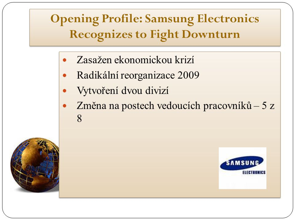 Opening Profile: Samsung Electronics Recognizes to Fight Downturn