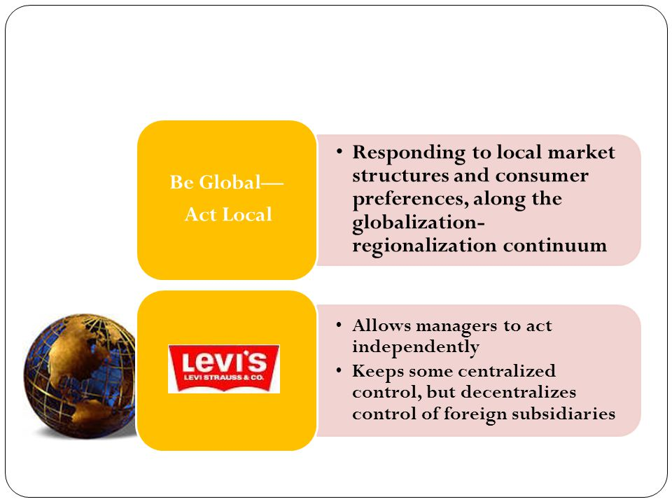 Be Global— Act Local. Responding to local market structures and consumer preferences, along the globalization-regionalization continuum.