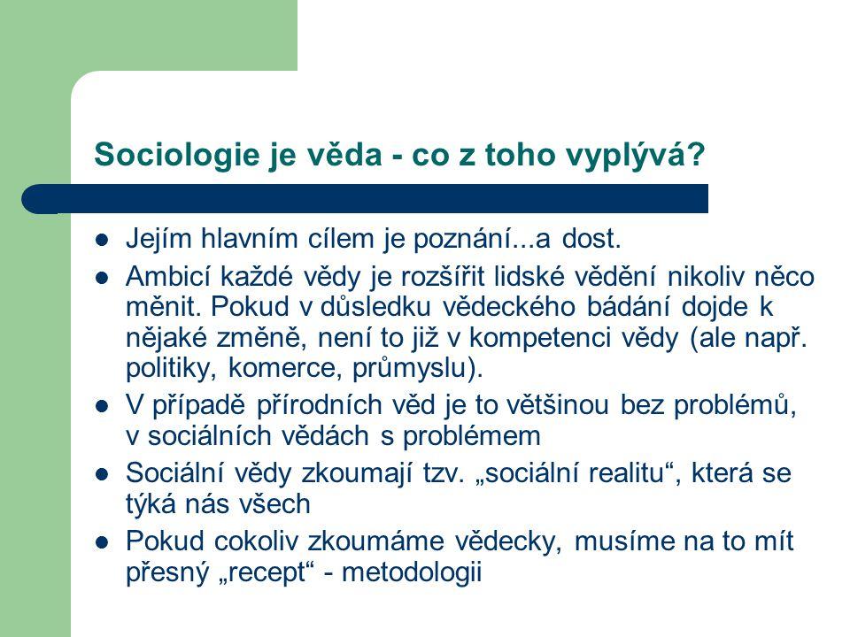 Sociologie je věda - co z toho vyplývá
