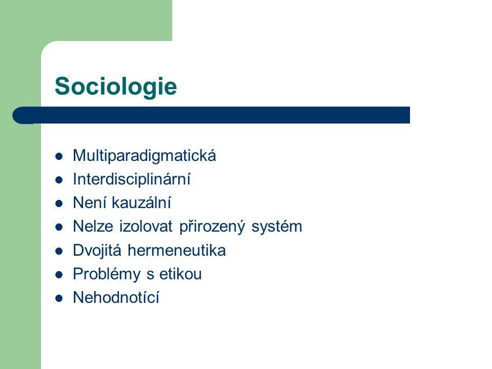 Sociologie Multiparadigmatická Interdisciplinární Není kauzální