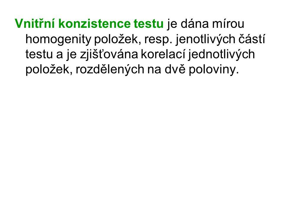 Vnitřní konzistence testu je dána mírou homogenity položek, resp