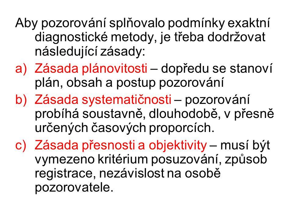 Aby pozorování splňovalo podmínky exaktní diagnostické metody, je třeba dodržovat následující zásady: