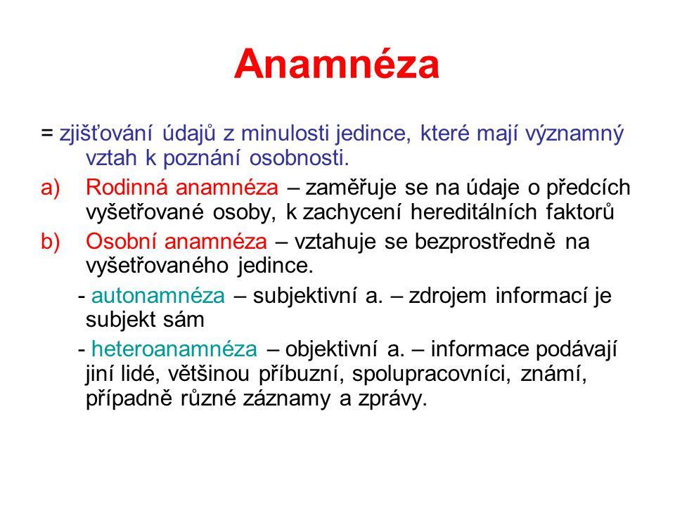 Anamnéza = zjišťování údajů z minulosti jedince, které mají významný vztah k poznání osobnosti.