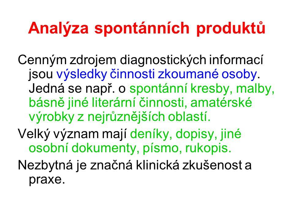 Analýza spontánních produktů