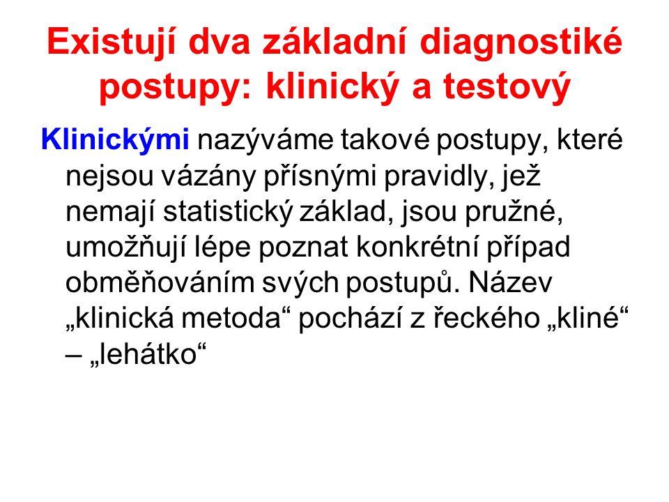 Existují dva základní diagnostiké postupy: klinický a testový