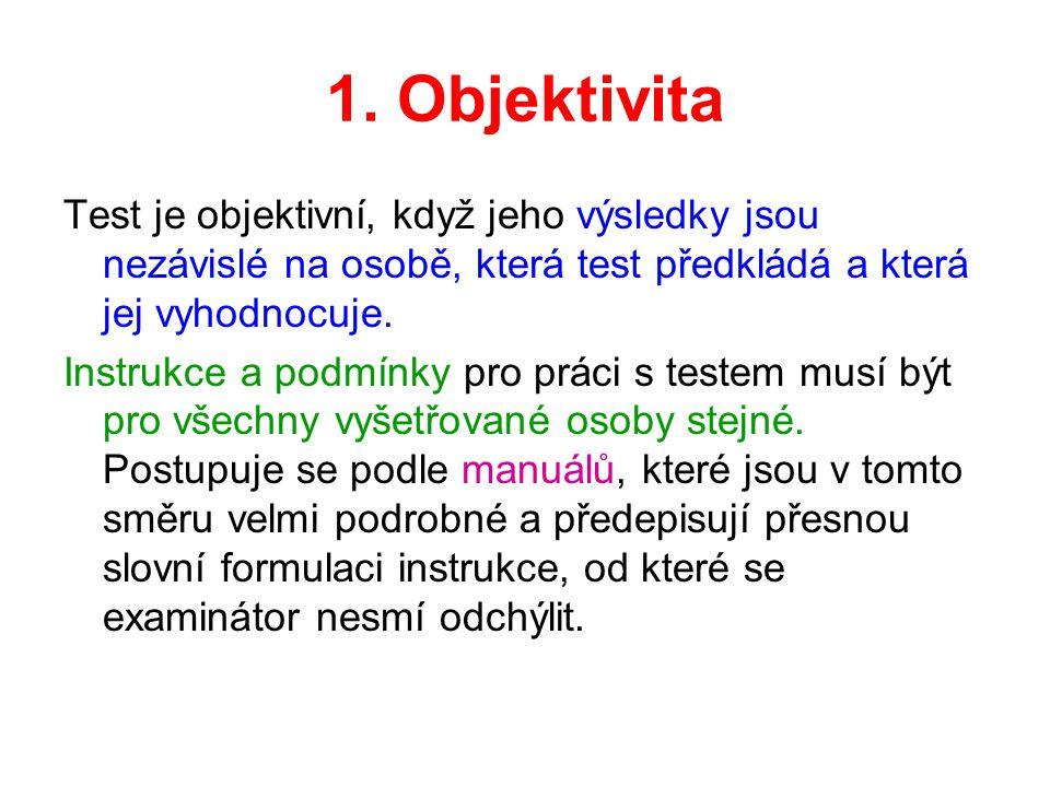 1. Objektivita Test je objektivní, když jeho výsledky jsou nezávislé na osobě, která test předkládá a která jej vyhodnocuje.