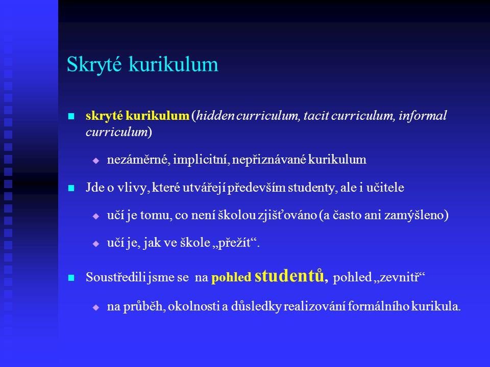Skryté kurikulum skryté kurikulum (hidden curriculum, tacit curriculum, informal curriculum) nezáměrné, implicitní, nepřiznávané kurikulum.