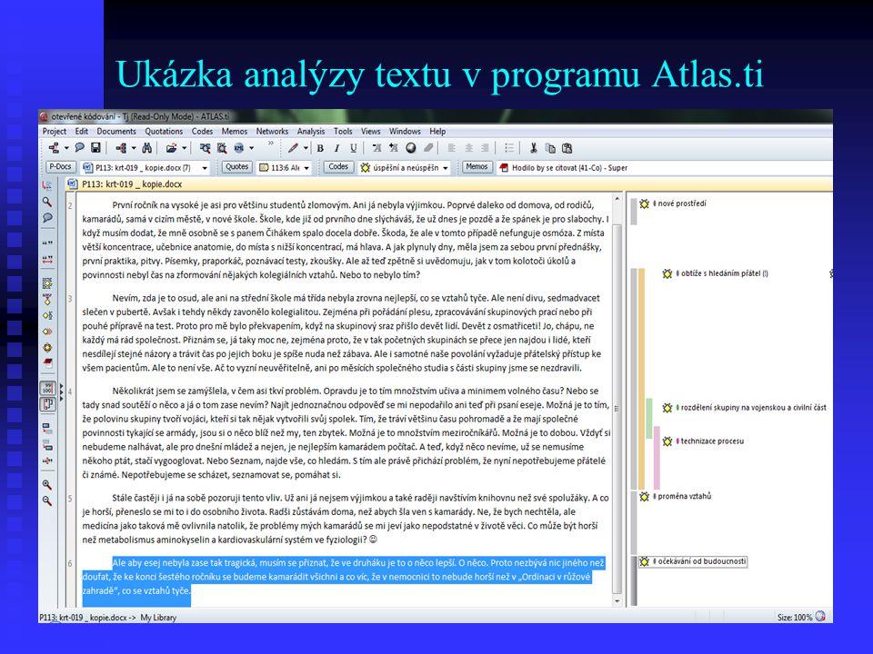 Ukázka analýzy textu v programu Atlas.ti
