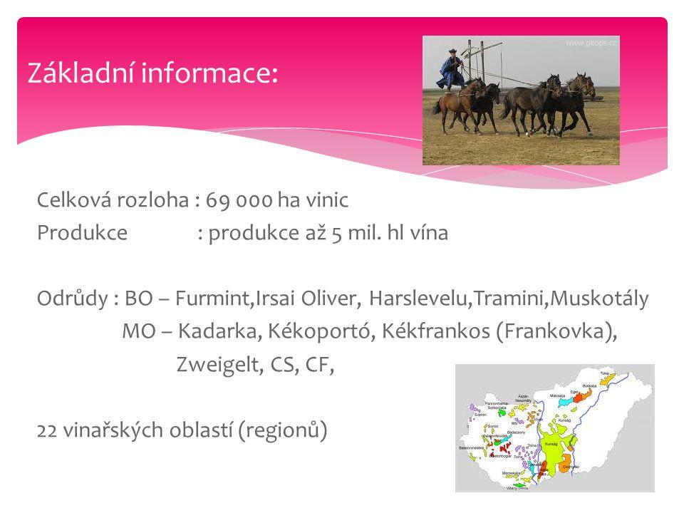 Základní informace: Celková rozloha : 69 000 ha vinic