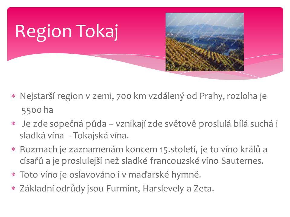 Region Tokaj Nejstarší region v zemi, 700 km vzdálený od Prahy, rozloha je. 5500 ha.