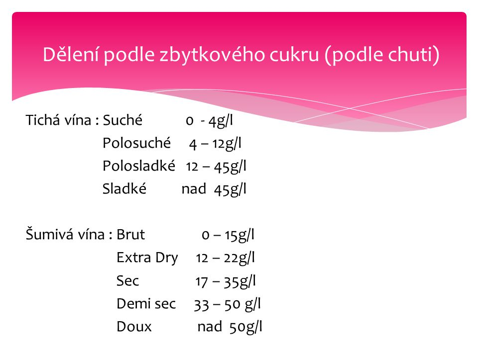 Dělení podle zbytkového cukru (podle chuti)