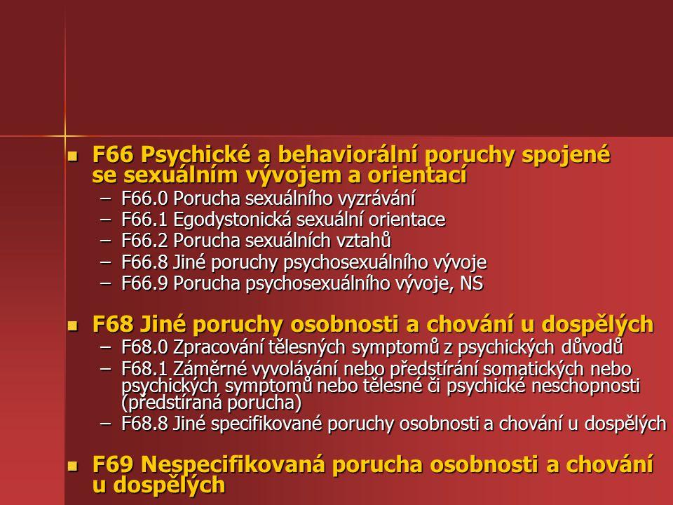 F68 Jiné poruchy osobnosti a chování u dospělých