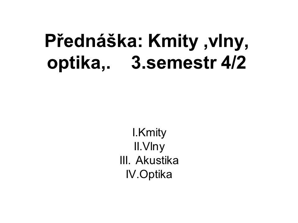 Přednáška: Kmity ,vlny, optika,. 3.semestr 4/2