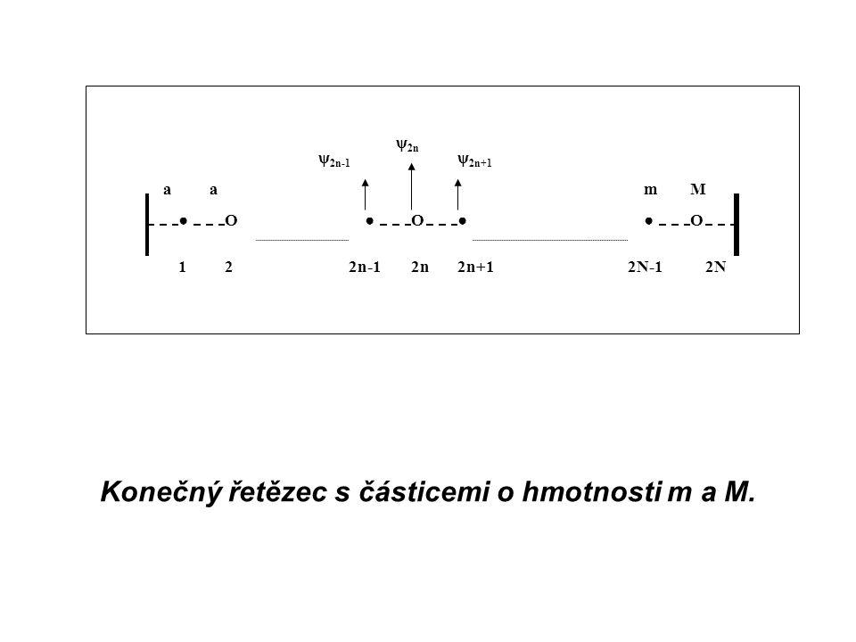 Konečný řetězec s částicemi o hmotnosti m a M.