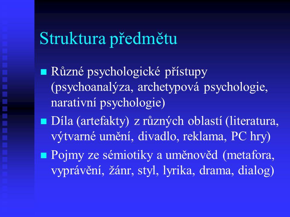 Struktura předmětu Různé psychologické přístupy (psychoanalýza, archetypová psychologie, narativní psychologie)