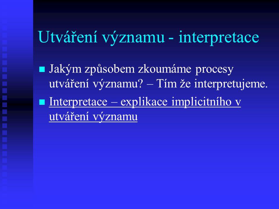 Utváření významu - interpretace