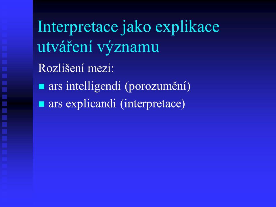 Interpretace jako explikace utváření významu