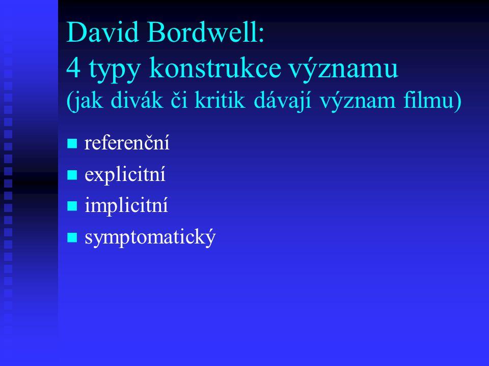 David Bordwell: 4 typy konstrukce významu (jak divák či kritik dávají význam filmu)