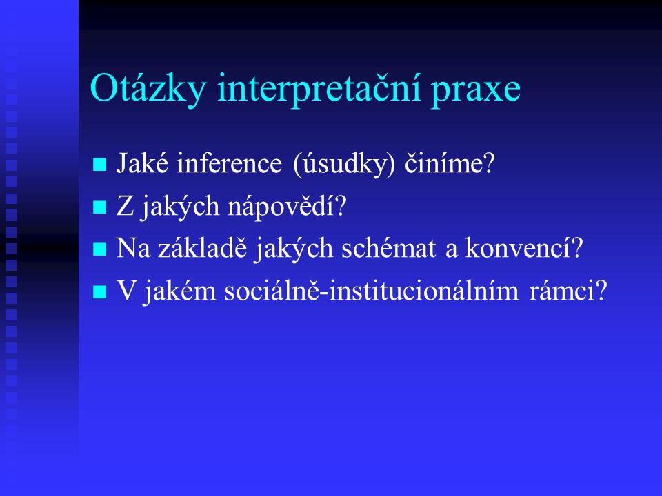 Otázky interpretační praxe