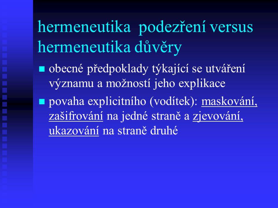 hermeneutika podezření versus hermeneutika důvěry
