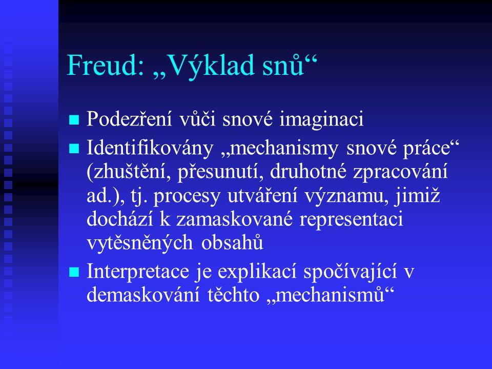 """Freud: """"Výklad snů Podezření vůči snové imaginaci"""