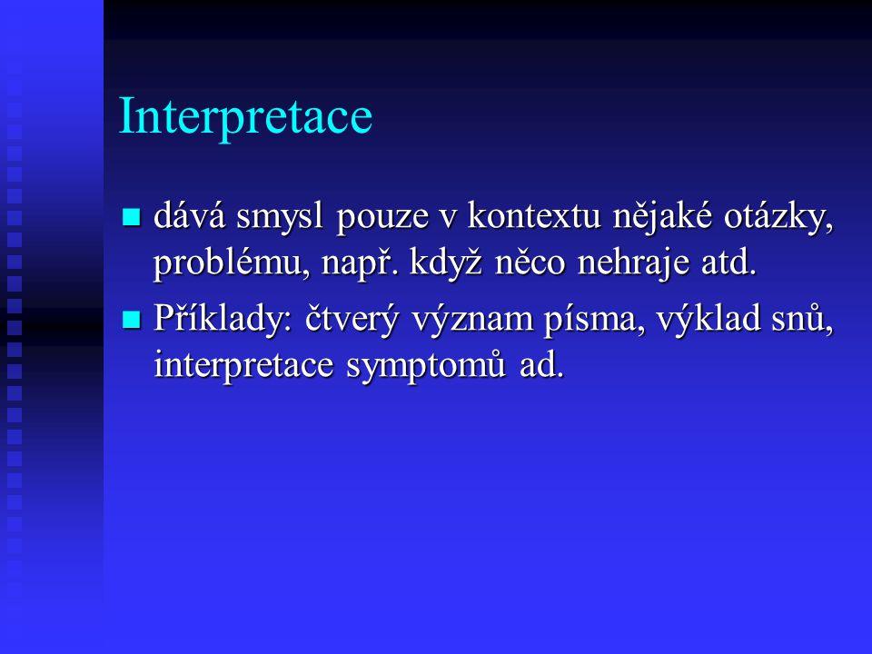 Interpretace dává smysl pouze v kontextu nějaké otázky, problému, např. když něco nehraje atd.