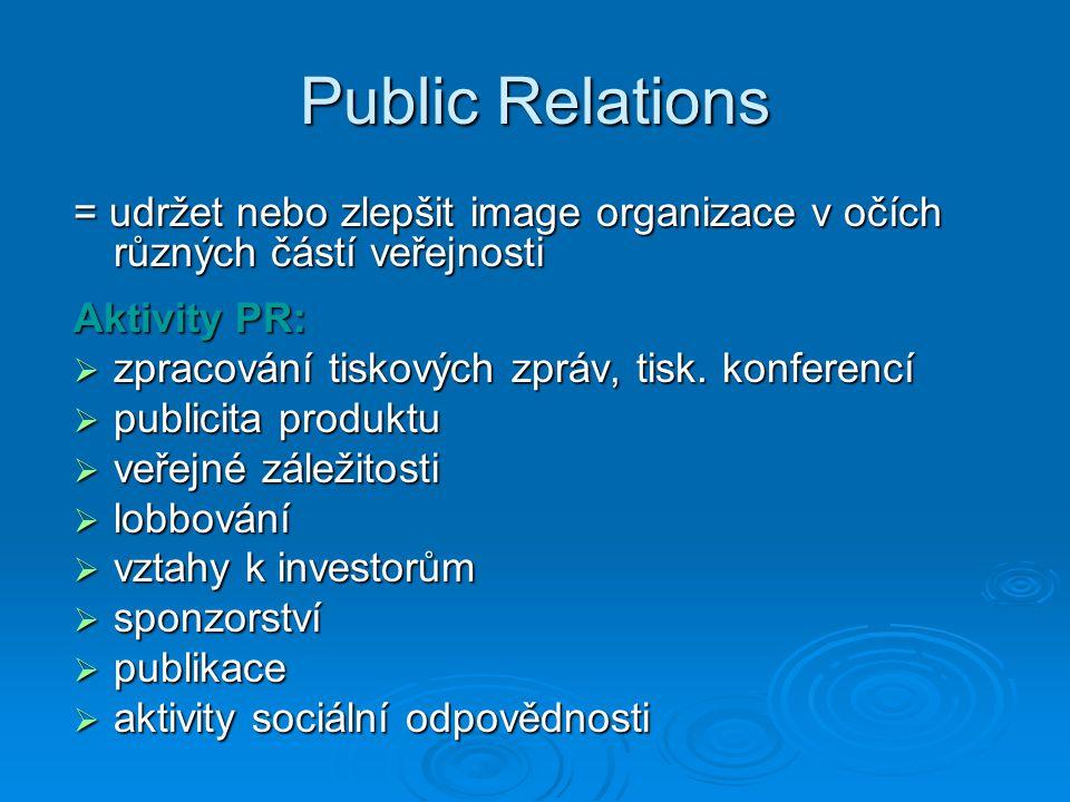 Public Relations = udržet nebo zlepšit image organizace v očích různých částí veřejnosti. Aktivity PR: