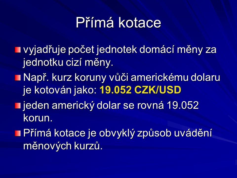Přímá kotace vyjadřuje počet jednotek domácí měny za jednotku cizí měny. Např. kurz koruny vůči americkému dolaru je kotován jako: 19.052 CZK/USD.