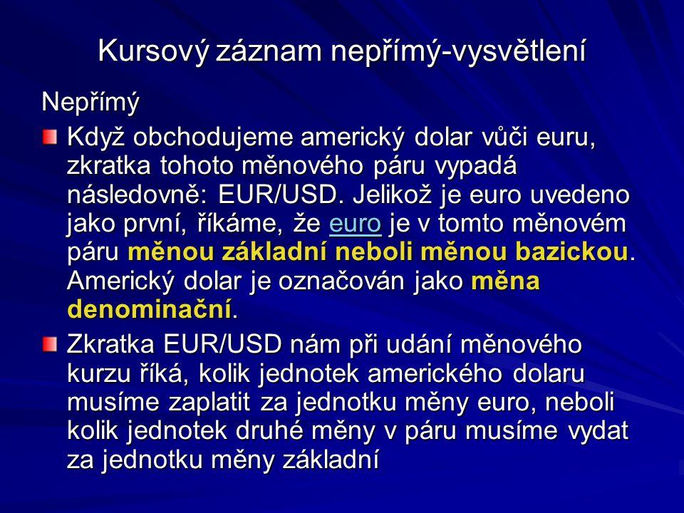 Kursový záznam nepřímý-vysvětlení