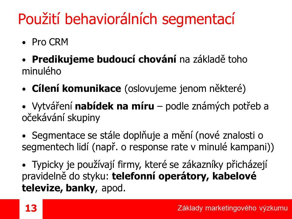 Použití behaviorálních segmentací