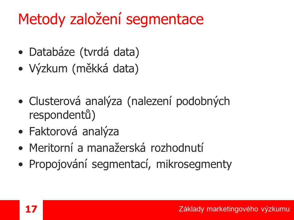 Metody založení segmentace
