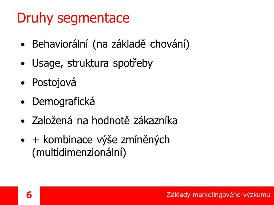 Druhy segmentace Behaviorální (na základě chování)