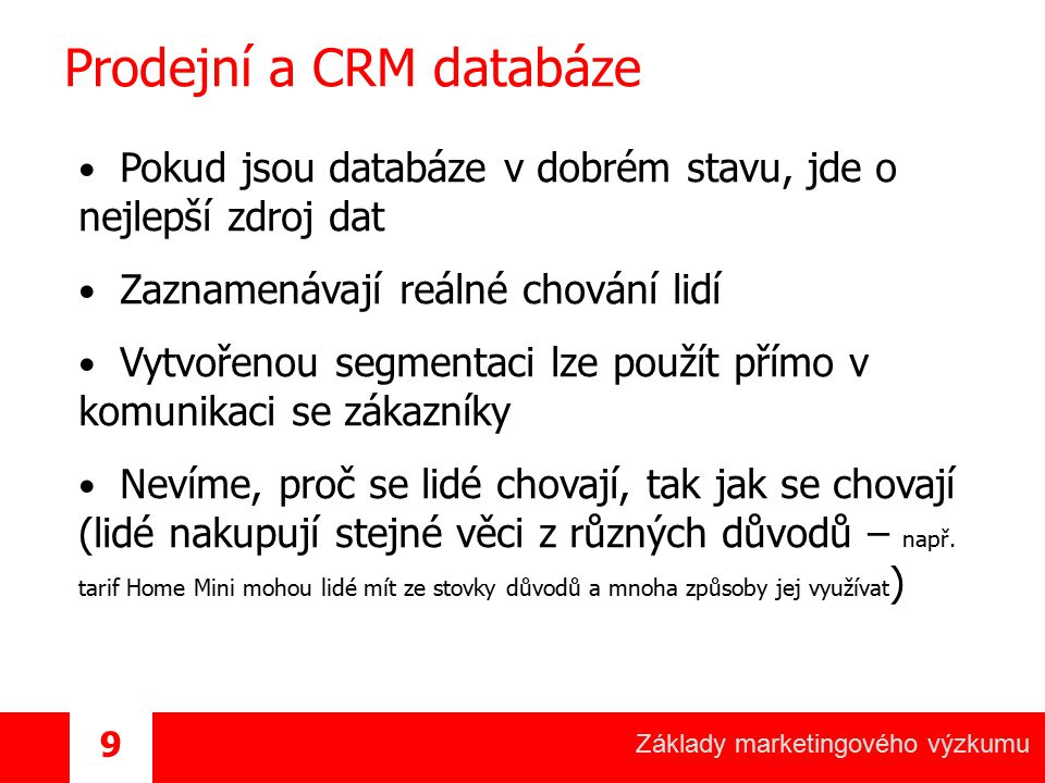 Prodejní a CRM databáze