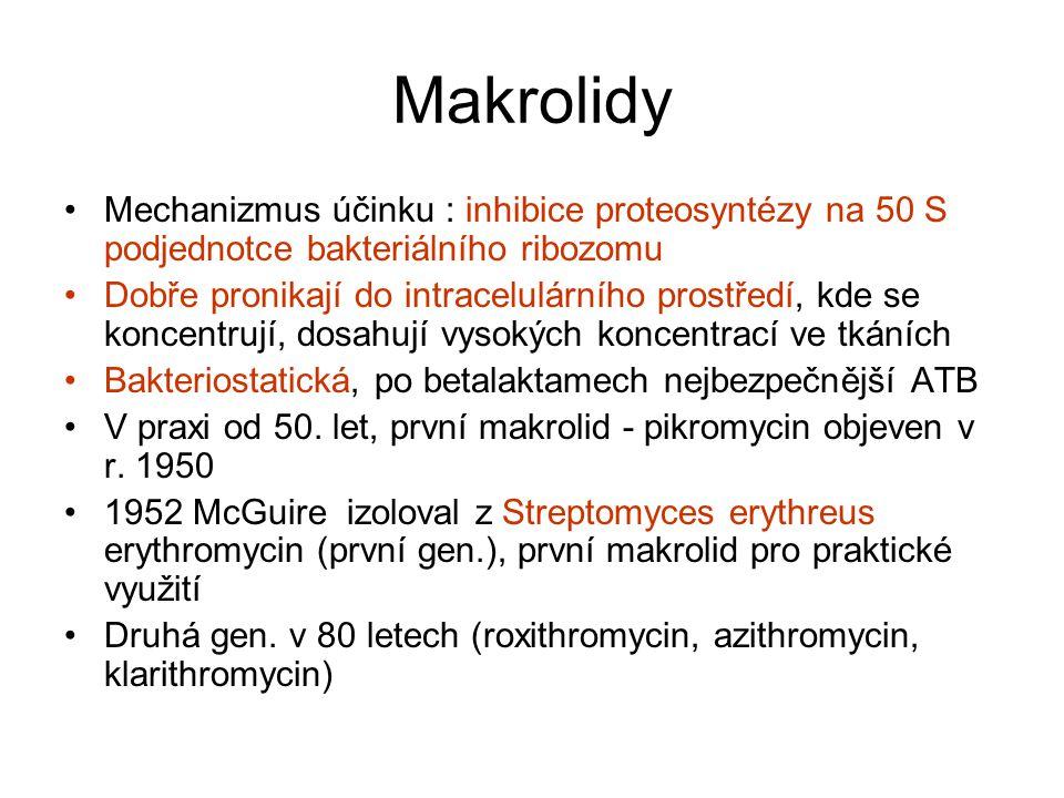 Makrolidy Mechanizmus účinku : inhibice proteosyntézy na 50 S podjednotce bakteriálního ribozomu.