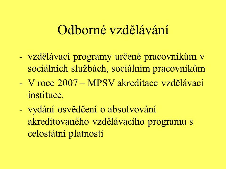 Odborné vzdělávání vzdělávací programy určené pracovníkům v sociálních službách, sociálním pracovníkům.