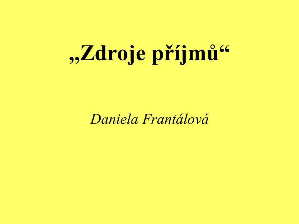 ,,Zdroje příjmů Daniela Frantálová