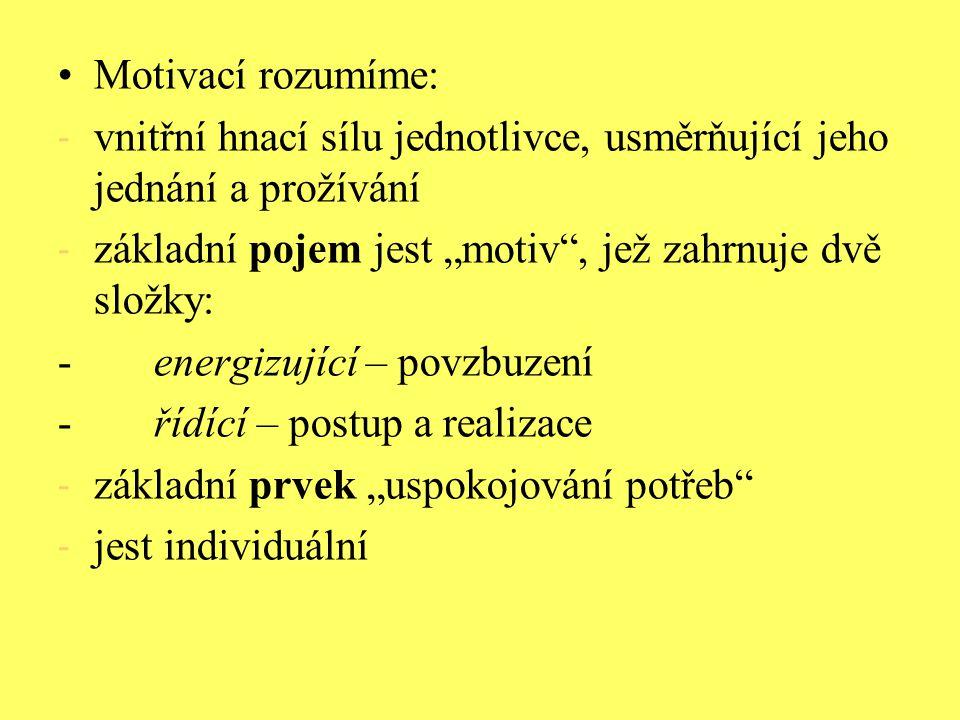 """Motivací rozumíme: vnitřní hnací sílu jednotlivce, usměrňující jeho jednání a prožívání. základní pojem jest """"motiv , jež zahrnuje dvě složky:"""