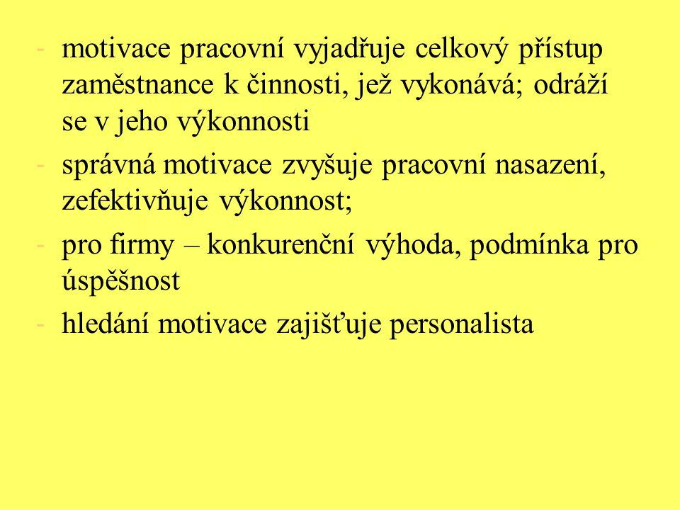motivace pracovní vyjadřuje celkový přístup zaměstnance k činnosti, jež vykonává; odráží se v jeho výkonnosti