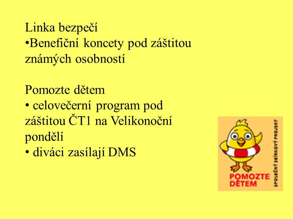 Linka bezpečí Benefiční koncety pod záštitou známých osobností. Pomozte dětem. celovečerní program pod záštitou ČT1 na Velikonoční pondělí.