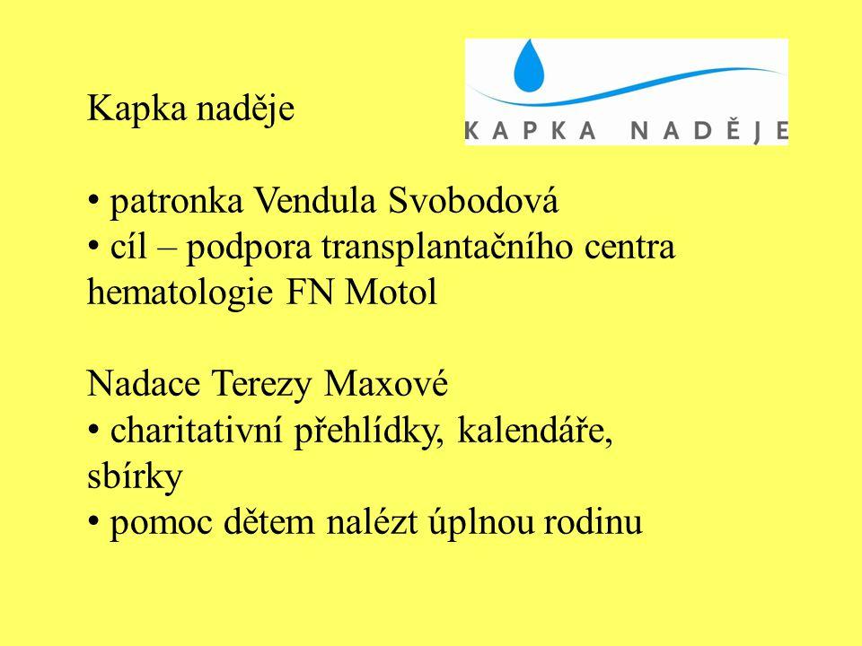 Kapka naděje patronka Vendula Svobodová. cíl – podpora transplantačního centra hematologie FN Motol.