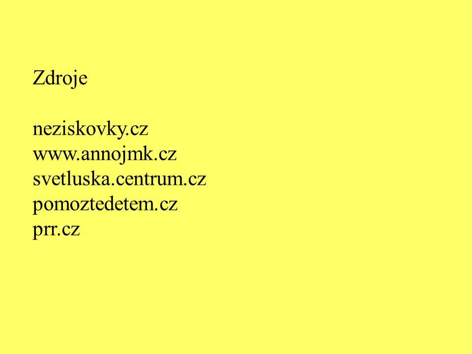 Zdroje neziskovky.cz www.annojmk.cz svetluska.centrum.cz pomoztedetem.cz prr.cz