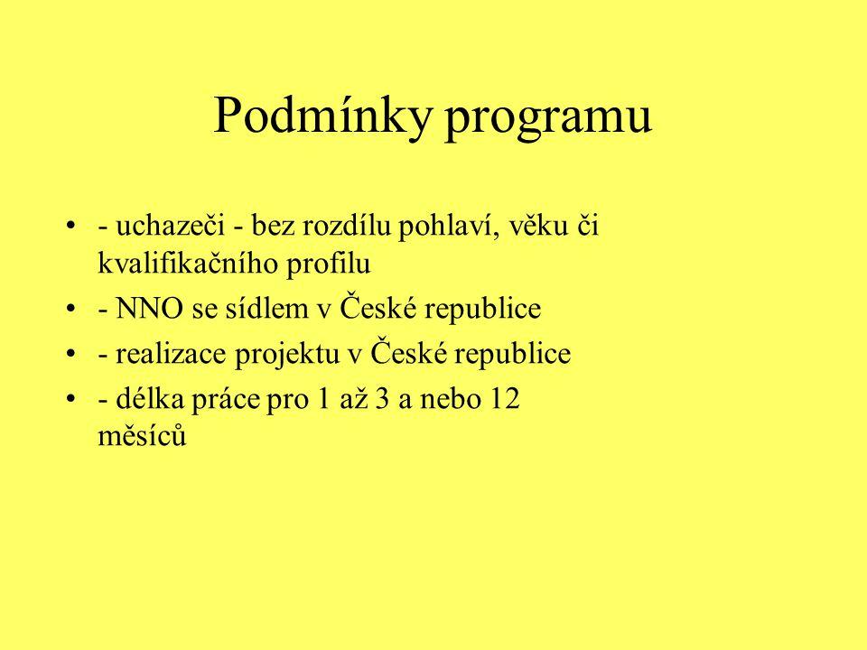 Podmínky programu - uchazeči - bez rozdílu pohlaví, věku či kvalifikačního profilu. - NNO se sídlem v České republice.