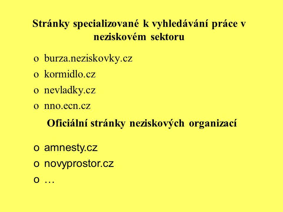 Stránky specializované k vyhledávání práce v neziskovém sektoru