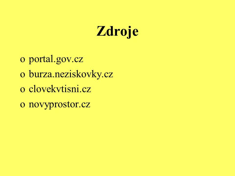 Zdroje portal.gov.cz burza.neziskovky.cz clovekvtisni.cz